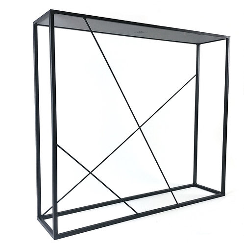 Black steel framed console table with asymmetric bars
