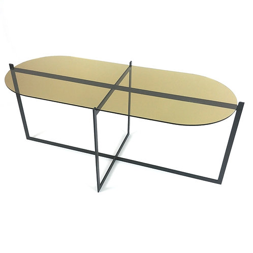 Coffee table with black steel legs