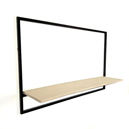 Black steel frame with plywood shelf