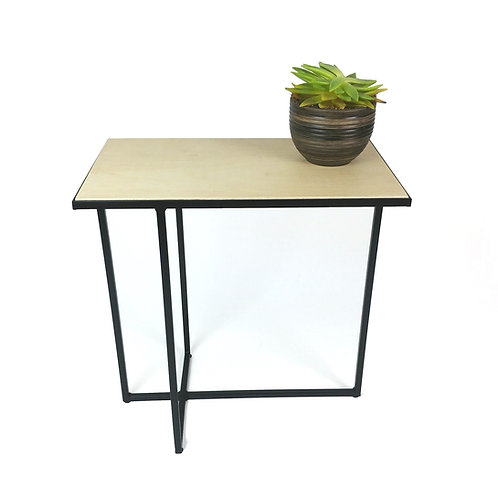 Plywood side table with black steel asymmetric legs