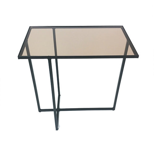 Side table with asymmetric black steel legs
