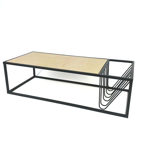Plywood coffee table with integral magazine rack
