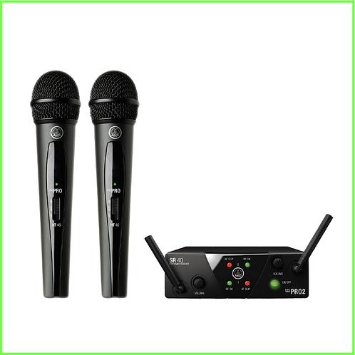 Bevielė rankoje laikomų mikrofonų sistema