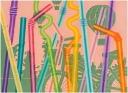 빨대숲(with balloons)_53x72.7cm, Oil and Acrylic on canvas, 2013