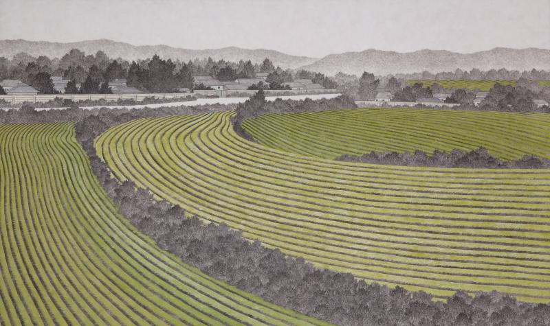 마을, 한지에 수묵채색, 97x162cm, 2015