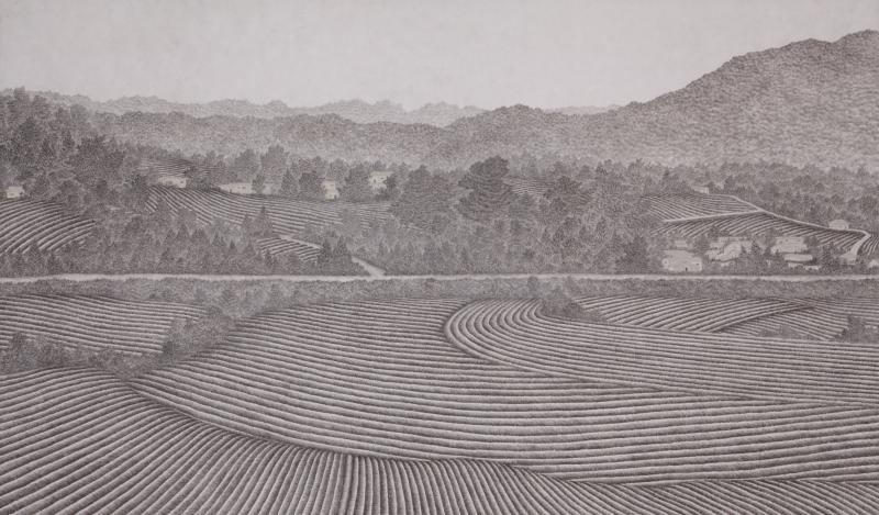 마을, 한지에 수묵채색, 97x162cm, 2014