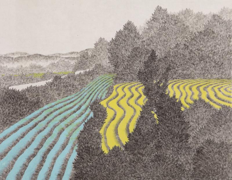밭, 한지에 수묵채색, 32x41cm, 2016