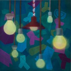 어떤습관(드러내다)-130 x 130cm  Oil and acrylic on canvas, 2010