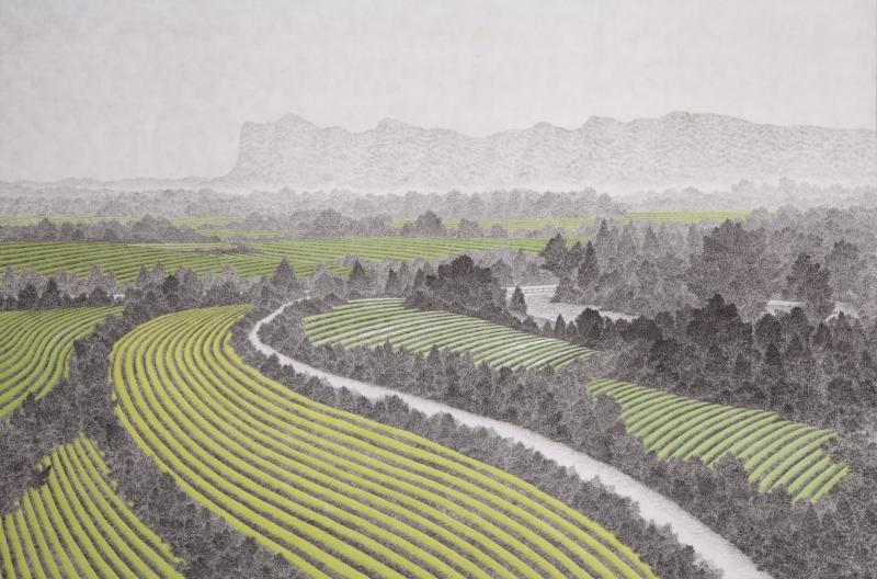 산, 한지에 수묵채색, 100x162cm, 2015
