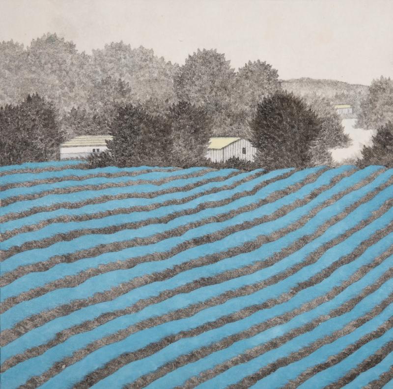 밭, 한지에 수묵채색, 30x30cm, 2016