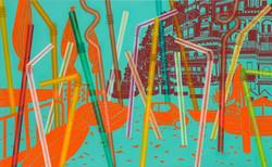 빨대숲 in Positano-Oil and Acrylic on canvas, 80.3x130.3cm, 2014