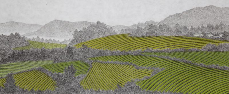 밭, 한지에 수묵채색, 120x50cm, 2014