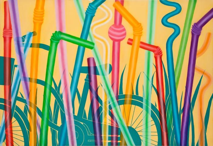 빨대숲-89.4 x 130.3cm  Oil and acrylic on canvas, 2010