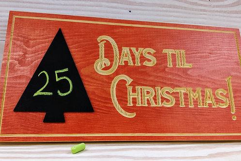 Days Til Christmas Sign with Chalkboard Tree