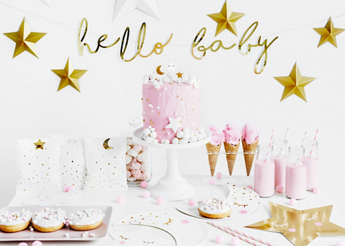 Girlande, Baby Party, Baby Shower, Hello Baby, Baby Party Deko, Partydeko, Baby Deko