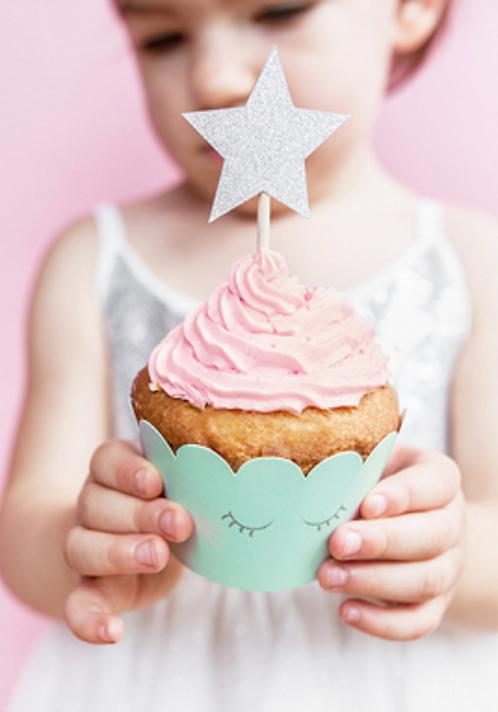 Cake Topper, Kuchen Spieße, Muffins, Cupcakes, Geburtstagstorte, Kindergeburtstag, Mottoparty, Sterne, Silber, Gold