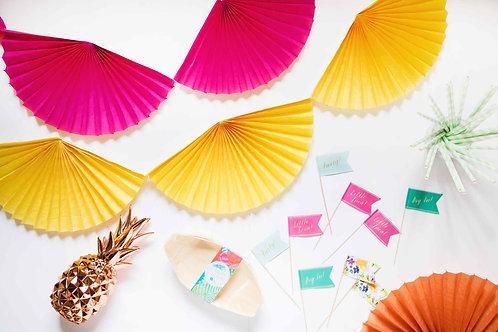 Fiesta, Tropical Party, Partydeko, Party aus der Box, Fächergirlande, DIY, Partytipps, Geburtstagsfeier, Gartenparty