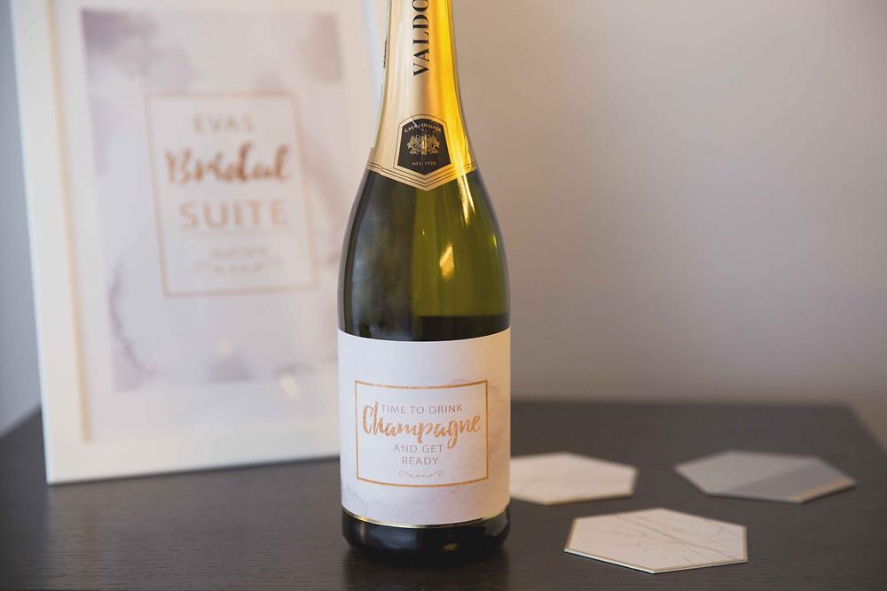 Prosecco Labels, Bridal Suite, Getting Ready, Champagne, Braut, Brautzimmer, Hochzeit, Deko-Kit