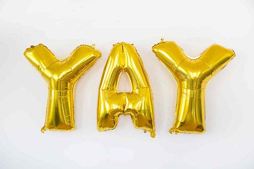 Folienballons, Helium, gold, Luftballon, YAY, Partydeko, Hochzeitsdeko, DIY