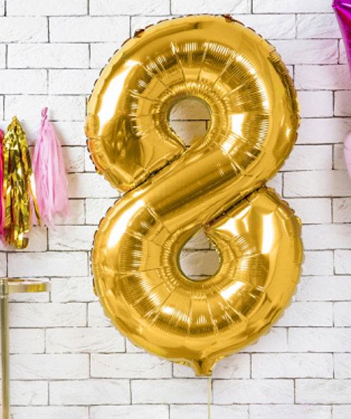 Folienballon, Heliumballon, Zahlenballon, 8, Geburtstag, Ottobrunn, Neubiberg, Ballongruß, gold