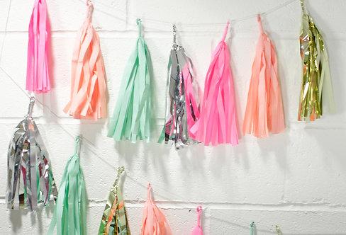 Tassel Girlande, bunt, pink, orange, silber, Talking Tables, Girlande