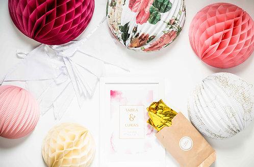 Hochzeitsdeko, Vintage, Boho, Honeycombs, Laternen, Folienballons, Wimpelgirlande