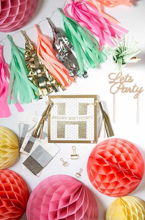 Geburtstagsparty, Geburtstagsdeko, Deko, weiß, Honeycombs, Happy Birthday Girlande, Cake Topper, bunt, Geburtstag