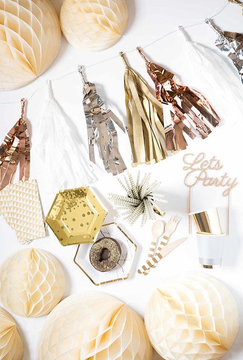 Tassel Girlande, Silber, Metall, Pappgeschirr, Party Deko, Honeycombs crème, Holzbesteck, Pappteller