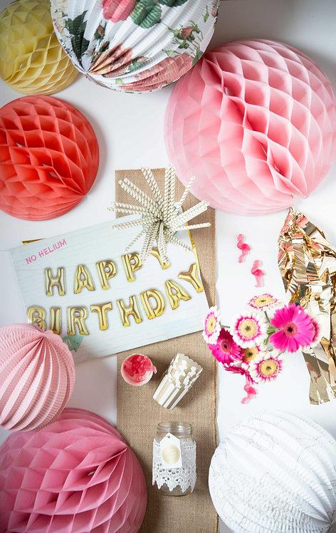 Geburtstag, Deko, Geburtstagsdeko, Folienballons, Happy Birthday Girlande, Boho, bunt, Honeycombs, Tischläufer, Boho
