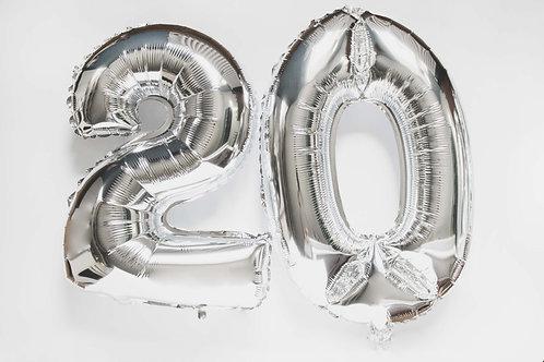 Ballonkit, Folienballons, 20, Zahlen, 2, 0, runder Geburtstag, Geburtstagsparty, Partydeko, Folienzahlen, silber