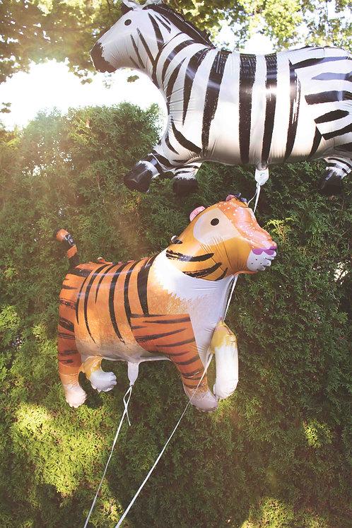 Wilde Tiere, Safari, Tiger, Folienballons, Helimballons, Zebra