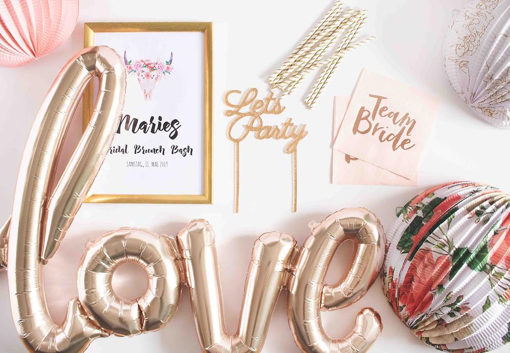 Love, Braut Party, JGA, Junggesellinnenabschied, Partydeko, Party aus der Box, Partyidee