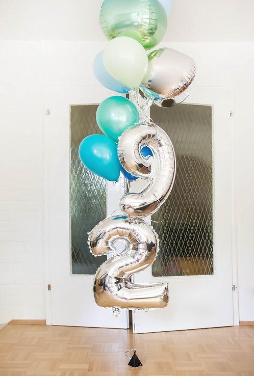 Ballontraube, Folienballons, Heliumballons, Ottobrunn, Neubiberg, Doorstep Party, Zahlenballons, silber