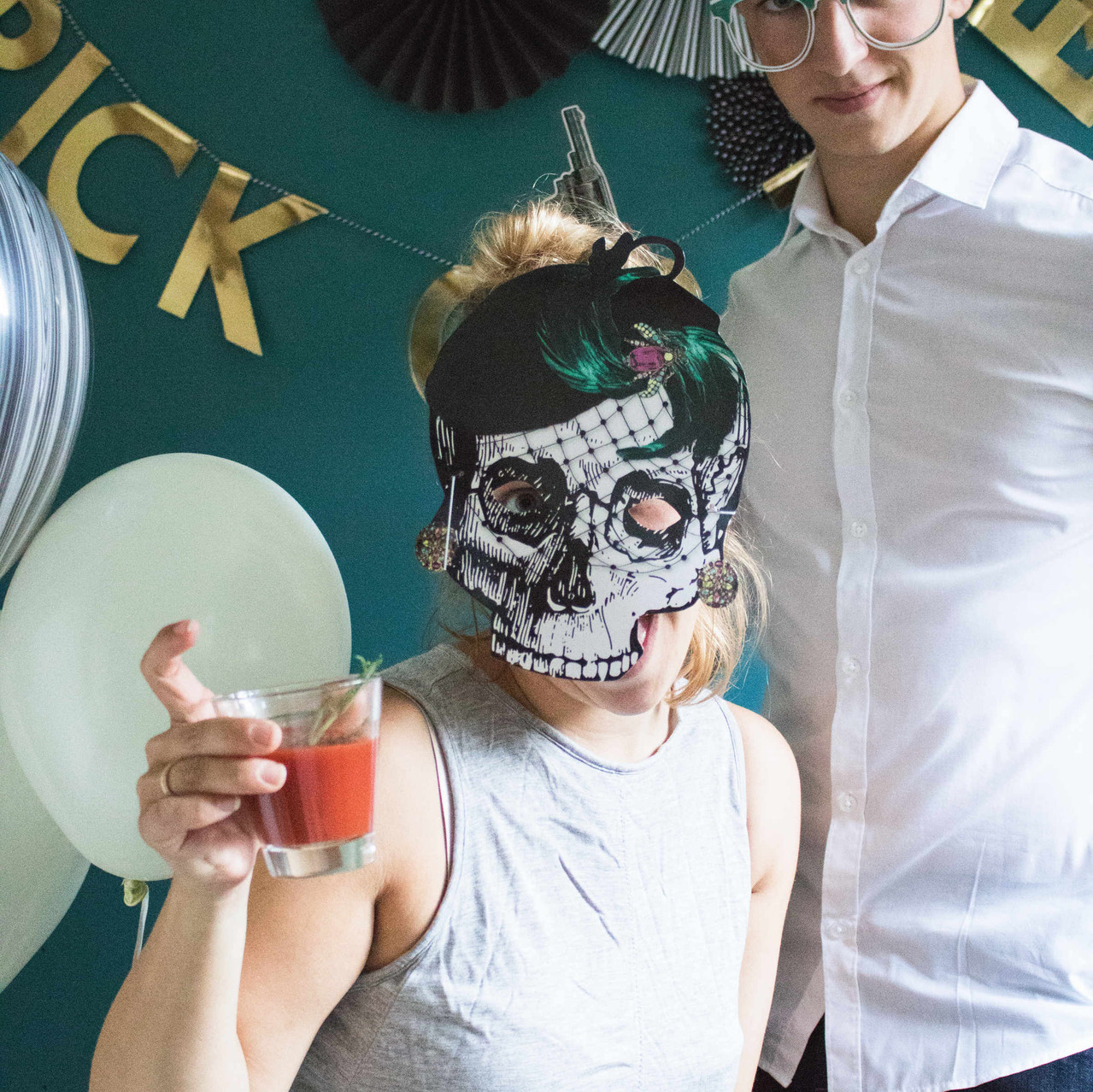 Photobooth, Props, Masken, Halloween, Kürbis, Deko, Bar, Buffet, Deko Ideen, Party aus der Box, Skelett, Trick or Treat