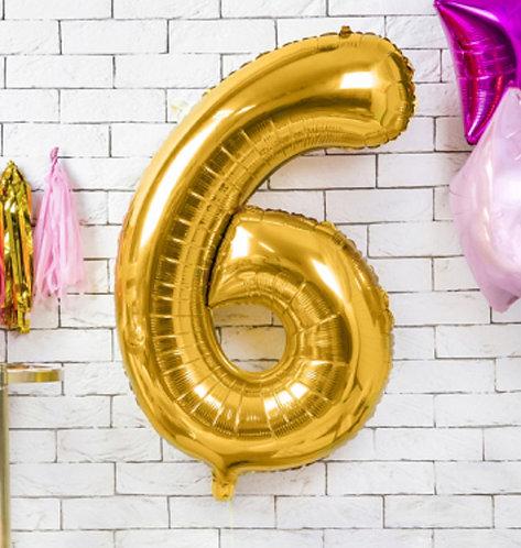 Folienballon, Heliumballon, Zahlenballon, gold, 6, Geburtstag