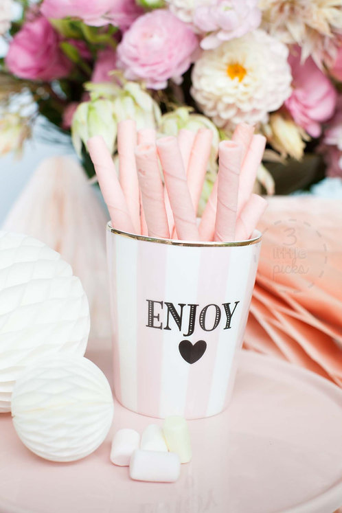Miss Étoile, Becher, ENJOY, rosa-weiß, Geschenkidee