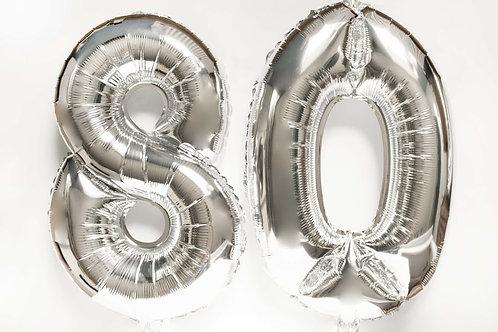 Ballonkit, Folienballons, 80, Zahlen, 8,0, runder Geburtstag, Geburtstagsfeier, Partydeko, Folienzahlen, silber