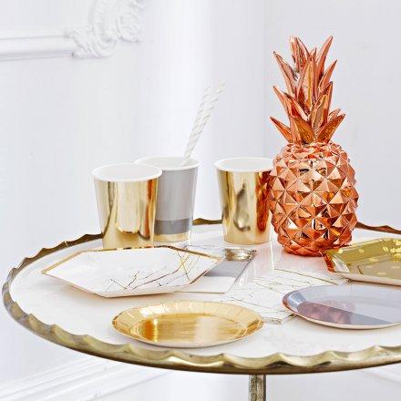 Ananas, Fiesta, Partydeko, kupfer, Talking Tables, Centerpiece, glänzend, Deko, Tischdeko, Mottoparty, mexican