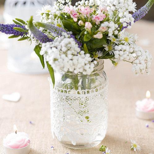 Talking Tables, Vase, Jar, Marmeladenglas, Boho, Vintage, Blumenglas, Blumenvase, Glas, Hochzeitsdeko, Tisch