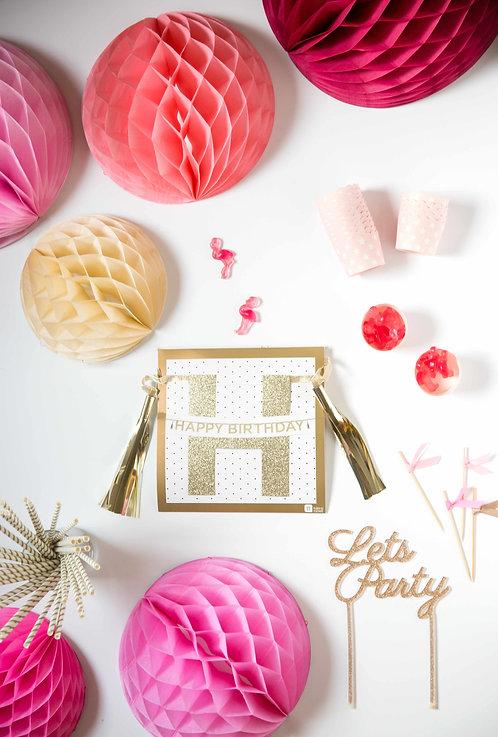 Happy Birthday, Geburtstag, Deko, Geburtstagsdeko, Girlande, rosa, pink, Geburtstagsparty, Honeycombs, Cake Topper, Pink