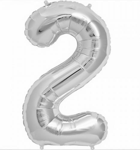 Folienballon, silber, Zahlenballon, Helium, 2, Heliumballon, Geburtstag
