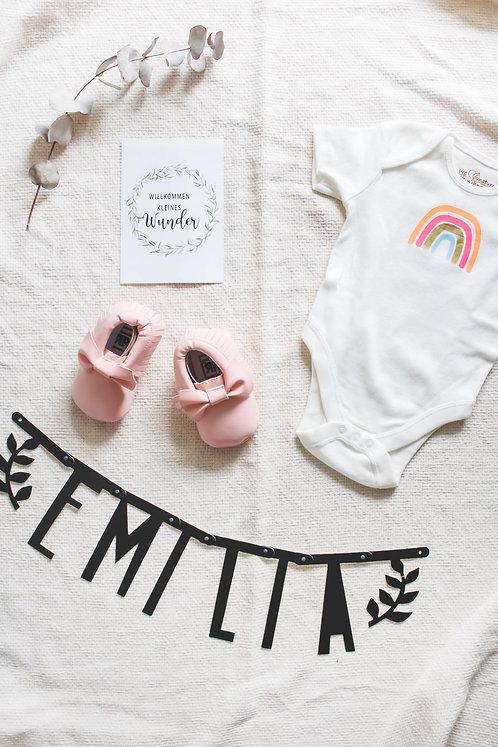 Newborn, Geschenkidee, Geburtsgeschenk, Geschenk zur Geburt, Hello World, Babygeschenk, personalisiert, Mädchen