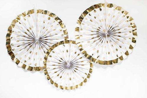 Faltrosetten, Dekofächer, Fächer, Partydeko, Hochzeitsdeko, Photobooth Hintergrund, gold, weiß, Silvesterparty