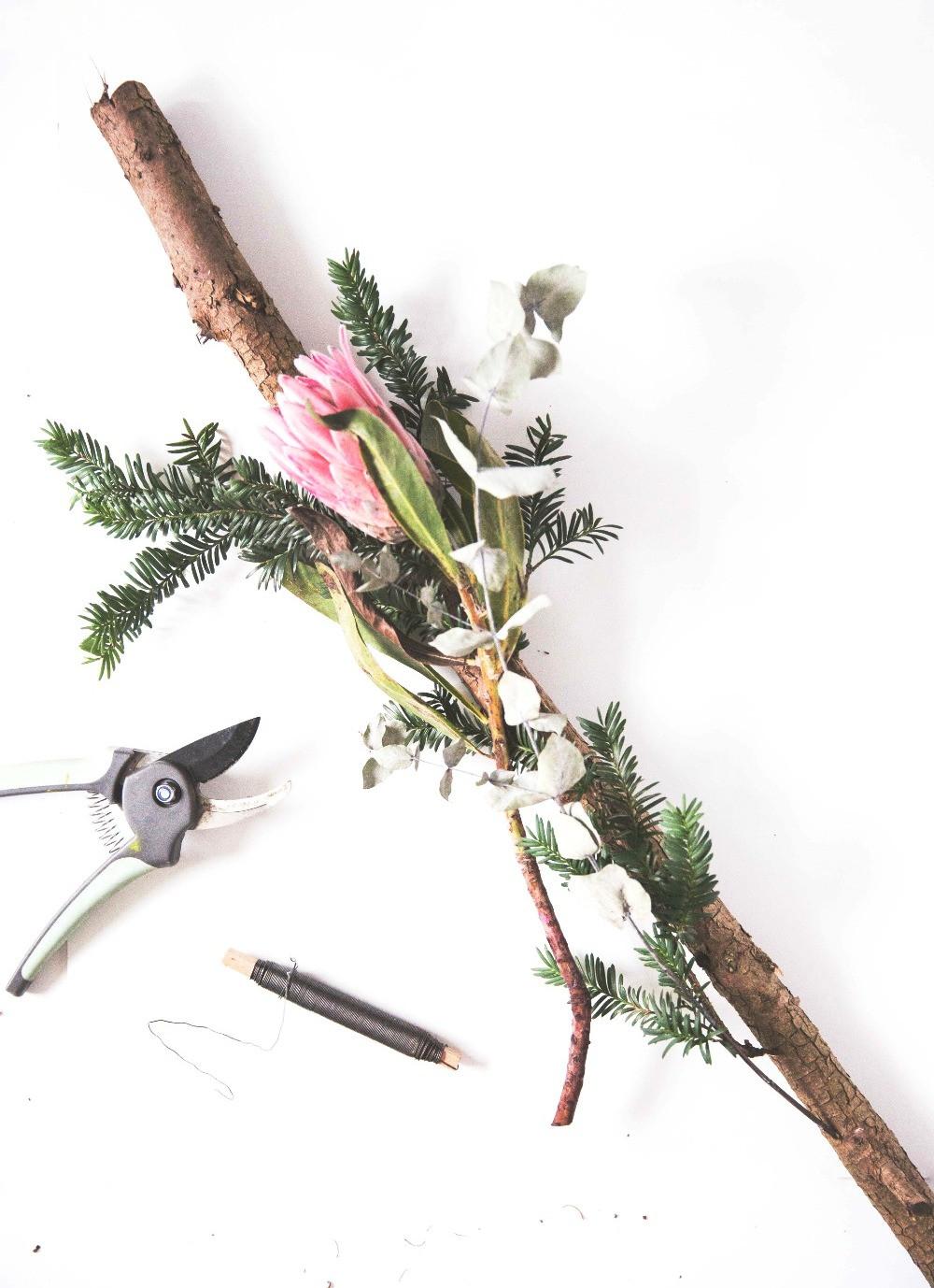 DIY, Tutorial, Last Minute, Partyhacks, Weihnachten, Advent, Adventskranz, Zweig, Boho, Outdoordeko