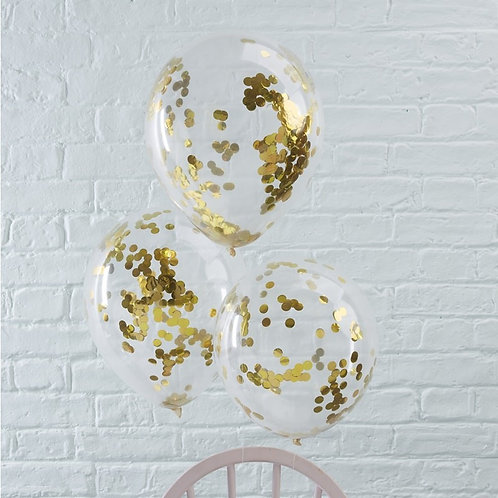 Ballon-Set, gold Konfetti