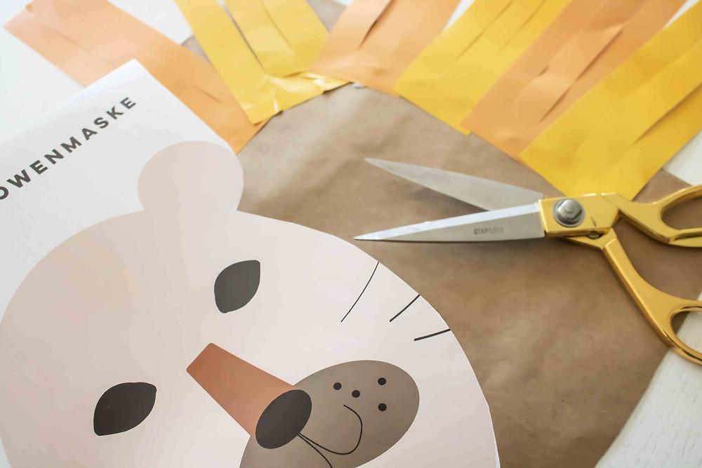 DIY, Basteln, Kindergeburtstag, Kinder Aktivität, Löwenmaske, Zirkusparty, Wild One, Tierparty, Löwe