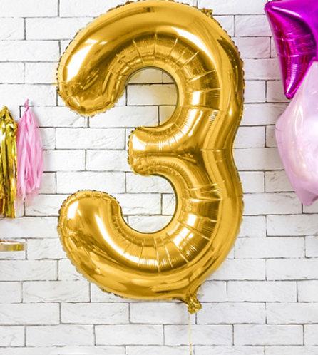 "Folienballon ""3"", gold"