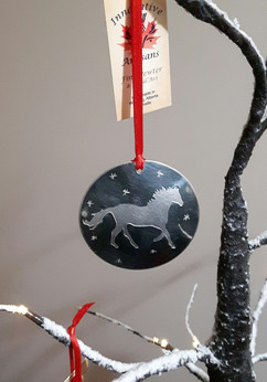 'Strong and Free' pewter ornament