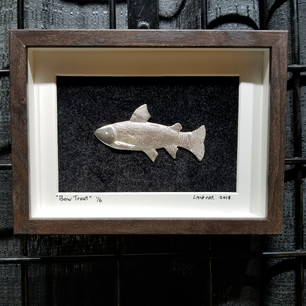 """Pewter """"Bow Trout"""" wall art"""