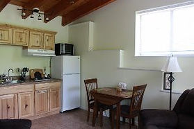 Photo of Kitchenette and Dining Table in the Kingfisher Rental Cabin in Tazewell, TN